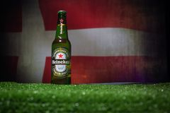 BAKU,AZERBAIJAN - JUNE 21, 2018 : Heineken Lager Beer in bottle with Official Russia 2018 World Cup football ball The Adidas Telst. BAKU,AZERBAIJAN - JUNE 21 Royalty Free Stock Photography