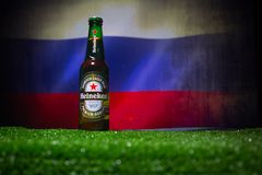 BAKU,AZERBAIJAN - JUNE 21, 2018 : Heineken Lager Beer in bottle with Official Russia 2018 World Cup football ball The Adidas Telst. BAKU,AZERBAIJAN - JUNE 21 Stock Photos
