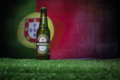 BAKU,AZERBAIJAN - JUNE 21, 2018 : Heineken Lager Beer in bottle with Official Russia 2018 World Cup football ball The Adidas Telst. BAKU,AZERBAIJAN - JUNE 21 Royalty Free Stock Image