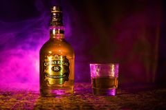 BAKU, AZERBAIJAN - MARCH 25, 2018: Blended from whiskies matured for at least 18 years, Chivas Regal 18 Gold Signature is a blende. D Scotch whisky produced by Royalty Free Stock Images