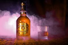 BAKU, AZERBAIJAN - MARCH 25, 2018: Blended from whiskies matured for at least 18 years, Chivas Regal 18 Gold Signature is a blende. D Scotch whisky produced by Stock Photo