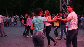 Baku, Azerbaijan - 27 May 2017: City Festival people enjoy dancing on street, crowd reiterate movements after dance stock video