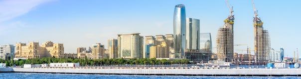 Baku, Azerbaijan - May 22, 2019: Azerbaijan, Baku City panorama skyline and caspian sea. panoramic shot stock photos