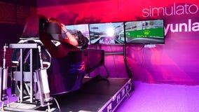 BAKU,AZERBAIJAN,17 MAY,2016: People inside formula 1 race simulator. stock video footage