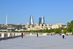 Baku, Azerbaijan - MAY 09, 2014: Seaside boulevard. In the morning Stock Photos