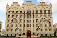 BAKU, AZERBAIJAN - OCTOBER 17, 2014:  Azerbaijan government ministry for internal affairs building in Baku Azerbaijan. Stock Photo