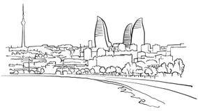Baku Azerbaijan-Selbstzeichnungslinien stock abbildung