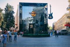 Baku, Azerbaijan - 9th September 2017: Hard Rock Cafe in city centrum. stock images