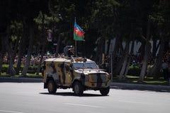 BAKU AZERBAJDZJAN - JUNI 26 2018 - militären ståtar i Baku, Azerbajdzjan på armédag Azerbajdzjan som firar den 100. årsdagen av a Royaltyfria Bilder