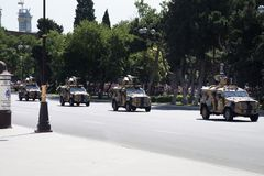 BAKU AZERBAJDZJAN - JUNI 26 2018 - militären ståtar i Baku, Azerbajdzjan på armédag Azerbajdzjan som firar den 100. årsdagen av a Royaltyfri Foto