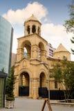 BAKU AZERBAJDZJAN - 17 OKTOBER 2014: St Gregory illuminationsenhetens kyrka Arkivbild