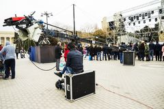Baku,Azerbayjan,10 may 2017: Camera live stream on crane, outside Stock Photography