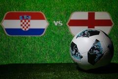 BAKU, AZERBEIDZJAN - JULI 08, 2018: Creatief concept De officiële bal van de de Wereldbekervoetbal van Rusland 2018 Adidas Telsta Stock Afbeelding