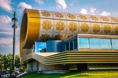 BAKU, AZERBEIDZJAN - JULI 7, 2016: De dekenmuseum Baku van Azerbeidzjan De Dekenachtergrond van het tapijtontwerp De achtergrond  stock foto