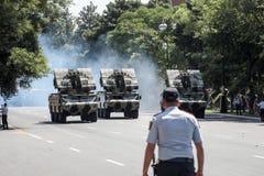 BAKU, AZERBEIDZJAN - JUNI 26 2018 - Militaire Parade in Baku, Azerbeidzjan op Legerdag Azerbeidzjan die 100ste verjaardag van Wap Royalty-vrije Stock Afbeeldingen