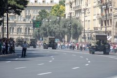 BAKU, AZERBEIDZJAN - JUNI 26 2018 - Militaire Parade in Baku, Azerbeidzjan op Legerdag Azerbeidzjan die 100ste verjaardag van Wap Royalty-vrije Stock Foto