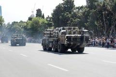BAKU, AZERBEIDZJAN - JUNI 26 2018 - Militaire Parade in Baku, Azerbeidzjan op Legerdag Azerbeidzjan die 100ste verjaardag van Wap Stock Afbeelding