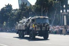 BAKU, AZERBEIDZJAN - JUNI 26 2018 - Militaire Parade in Baku, Azerbeidzjan op Legerdag Azerbeidzjan die 100ste verjaardag van Wap Royalty-vrije Stock Foto's