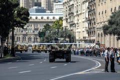 BAKU, AZERBEIDZJAN - JUNI 26 2018 - Militaire Parade in Baku, Azerbeidzjan op Legerdag Azerbeidzjan die 100ste verjaardag van Wap Royalty-vrije Stock Afbeelding