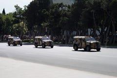 BAKU, AZERBEIDZJAN - JUNI 26 2018 - Militaire Parade in Baku, Azerbeidzjan op Legerdag Azerbeidzjan die 100ste verjaardag van Wap Royalty-vrije Stock Fotografie