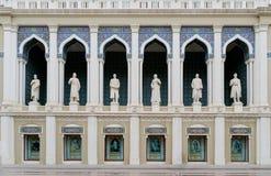 BAKU, AZERBEIDZJAN - OKTOBER 17: Vooraanzicht van het Nizami-Museum van Azerbeidzjaans Literatuur in Baku op 17 Oktober, 2014 Het royalty-vrije stock foto's