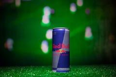 BAKU AZERBEJDŻAN, LIPIEC, - 01, 2018: Kreatywnie pojęcie Red Bull klasyk 250 ml może na trawie Wspiera twój kraju w pucharze świa Fotografia Stock