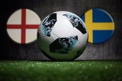 BAKU AZERBEJDŻAN, LIPIEC, - 04, 2018: Kreatywnie pojęcie Urzędnik Rosja 2018 pucharów świata futbolowa piłka Adidas Telstar 18 na Zdjęcia Royalty Free