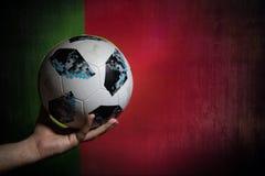 BAKU AZERBEJDŻAN, LIPIEC, - 01, 2018: Kreatywnie pojęcie Urzędnik Rosja 2018 pucharów świata futbolowa piłka Adidas Telstar 18 w  Fotografia Royalty Free