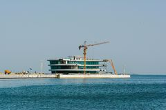 Baku bay, Building of new object Royalty Free Stock Image