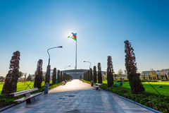 Baku bay embankment, National flag place. Solar eclipse and flag Royalty Free Stock Image