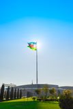 Baku bay embankment, National flag place. Solar eclipse and flag Royalty Free Stock Photography