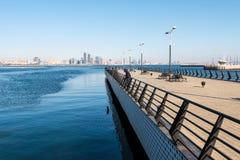 Baku bay embankment. Pier on sea. Fishermen Stock Images