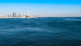 Baku bay embankment. View to the cafe building in sea Royalty Free Stock Photography