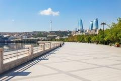 Baku boulevard, Caspian sea. Baku boulevard at the Caspian Sea embankment. Baku is the capital and largest city of Azerbaijan Royalty Free Stock Photo