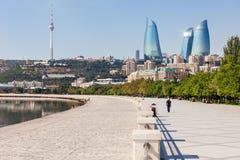 Baku boulevard, Caspian sea. Baku boulevard at the Caspian Sea embankment. Baku is the capital and largest city of Azerbaijan Stock Photos