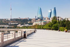 Baku boulevard, Caspian sea. Baku boulevard at the Caspian Sea embankment. Baku is the capital and largest city of Azerbaijan royalty free stock photo