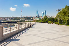 Baku boulevard, Caspian sea. Baku boulevard at the Caspian Sea embankment. Baku is the capital and largest city of Azerbaijan royalty free stock images