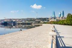Baku boulevard, Caspian sea. Baku boulevard at the Caspian Sea embankment. Baku is the capital and largest city of Azerbaijan Stock Image
