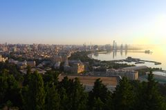 View of Baku city from the high park. Baku is the capital city of Azerbaijan Republic. Panoramic city view at the sunrise Royalty Free Stock Photography