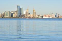 Baku Cityscape,the capital of Azerbaijan is loated by the Caspian Sea shore. Baku the capital of the Republic of Azerbaijan, the largest industrial, economic and stock photos