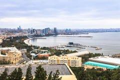 Baku and Caspian Sea. View of Baku and The Caspian Sea royalty free stock photography