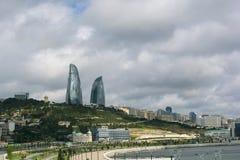 Baku City Flame Tower 2016 fotos de stock