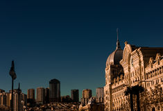Baku city. In the rays of the rising sun Stock Photography