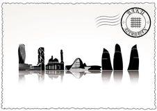 Baku city skyline. Black and white Stock Illustration