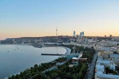 Baku city sunset view. Sunset view of Baku city, Azerbaijan. Seaside boulevard Stock Photo