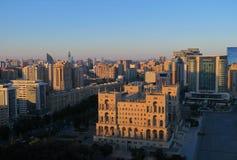 Baku city view. During sunset Stock Photos