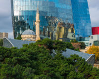 Baku City View. Baku has evolved as a busy modern city, now recovered from 70 years within the Soviet Union. These city reflections in the Flame Towers with the Stock Photography