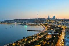 Baku city view. During sunset. Seaside boulevard, Baku, Azerbaijan Royalty Free Stock Photo