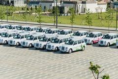 BAKU - 10 DE MAIO DE 2015: Táxis de Londres o 10 de maio em BAKU Imagem de Stock