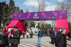 Baku - 21 de março de 2015: 2015 cartazes europeus dos jogos Fotografia de Stock